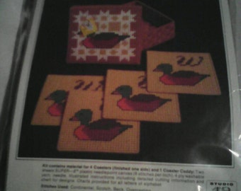1982 MIP Needlepoint Coasters and 1 Caddy. Ducks.
