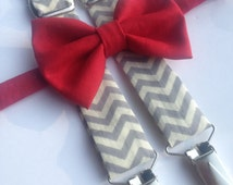 Suspender and Bow Tie Set, Gray Suspender and Bow Tie, Red Bow Tie, Men's Bow Tie, Kids suspenders baby bow, chevron suspenders