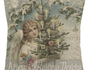 Christmas Pillow Angel and Christmas Tree Hark the Herald Angels Sing Cotton Canvas Burlap Throw Pillow Cover