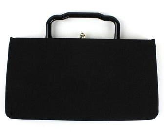 Vintage Black Polyester Convertible Purse / Clutch with Plastic Handle