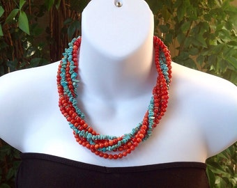 Turquoise necklace. Turquoise and coral necklace. Turquoise chip necklace. Western necklace. Stand necklace.