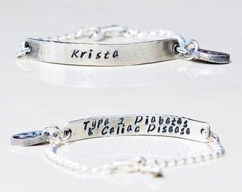 Medical Alert Bracelet and ID Bracelet Sterling Silver Custom Made - Women, Teens and Children's Bracelet