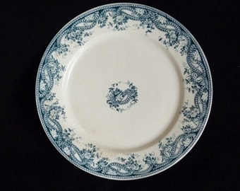 Antique French Faience, Faience Plate, Sarreguemines Marked U & Cie Sarregueminen Perles  circa 1870