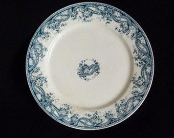 Antique French Faience, Faience Plate, Sarreguemines Marked U & Cie Sarregueminen Perles  circa 1870