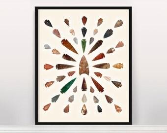 Arrowhead and Spearhead Typology - Native American Art - Native American Design - Arrowhead Poster - Southwestern Art - Arrows - Arrowheads