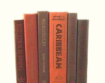 Orange and brown book collection, decorative books, orange and brown books, instant library, colorful books for table centerpiece, book set