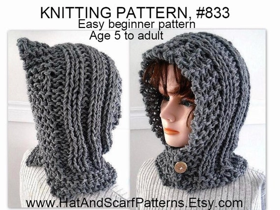 Knitting Pattern For Age : Items similar to KNITTING PATTERN - Hectanooga Hood, Easy Beginner Pattern, A...