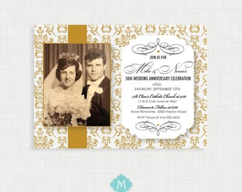 50th Wedding Anniversary Invitation - Gold Demask - 50th Anniversary