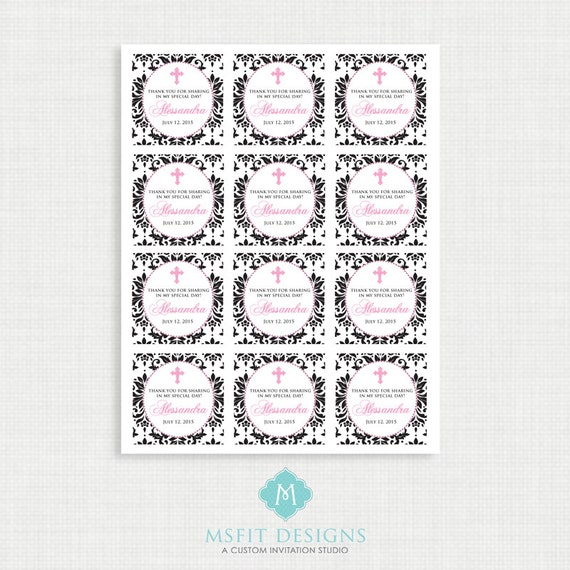 Printable Baptism Favor Tags - Demask Favor Tags - Thank You Tags - Christening - Party Tags- Digital Printable