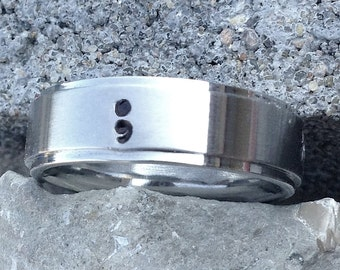 Semicolon stainless steel handstamped ring- Suicide Awareness, Suicide Prevention