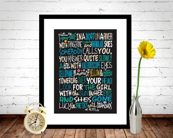 The Beatles - Lucy In The Sky With Diamonds Poster, Song Lyrics Print, Music Poster, Song Lyrics