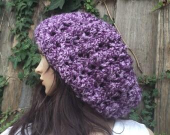 purple  Slouch Beanie ,Slouchy  women hat ,Hand Knit Winter , Adult, Teen hat  ,purple  Chunky  hat, rasta hat, latge hat
