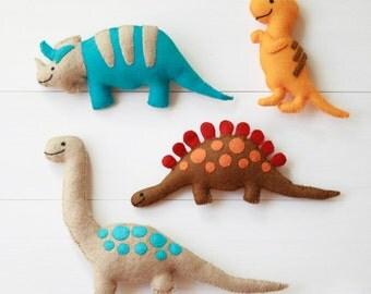 Felt Dinosaur Toys - Four handmade plush felt dinosaurs - Triceratops, T-Rex, Stegosaurus, Brontosaurus