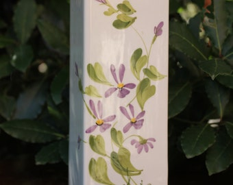Antique violets ceramic vase, vintage flowerpot decorated, Bassano made in Italy, pot for flowers