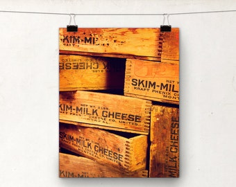 Wooden Cheese Box Photograph, Rustic Kitchen Decor, Orange Brown