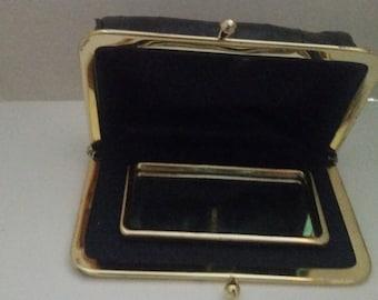 vintage eel skin lipstick wallet with mirror