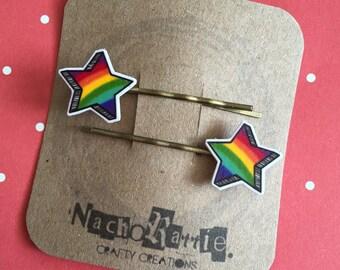 Rainbow Star Shrink Plastic Hair Grips