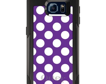 OtterBox Commuter for Galaxy S4 / S5 / S6 / S7 / S8 / S8+ / Note 4 5 8 - CUSTOM Monogram - Any Colors - White & Purple Polka Dots