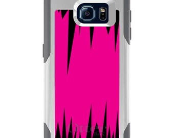 OtterBox Commuter for Galaxy S4 / S5 / S6 / S7 / S8 / S8+ / Note 4 5 8 - CUSTOM Monogram - Any Colors - Neon Pink Black Spikes