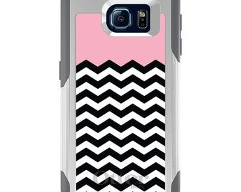 OtterBox Commuter for Galaxy S4 / S5 / S6 / S7 / S8 / S8+ / Note 4 5 8 - CUSTOM Monogram - Any Colors - Black White Pink Chevron