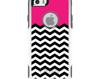 OtterBox Commuter for Apple iPhone 5S SE 5C 6 6S 7 8 PLUS X 10 - Custom Monogram - Any Colors - Black White Hot Pink Chevron