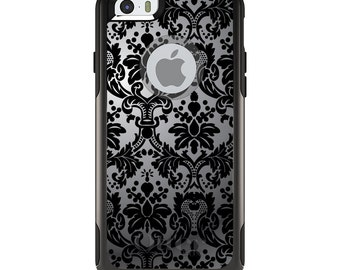 OtterBox Commuter for Apple iPhone 5S SE 5C 6 6S 7 8 PLUS X 10 - Custom Monogram - Any Colors - Silver Black Damask