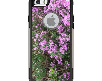 OtterBox Commuter for Apple iPhone 5S SE 5C 6 6S 7 8 PLUS X 10 - Custom Monogram - Any Colors - Purple Flowers Mykonos Greece