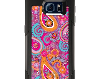 OtterBox Commuter for Galaxy S4 / S5 / S6 / S7 / S8 / S8+ / Note 4 5 8 - CUSTOM Monogram - Any Colors - Pink Blue Orange Paisley