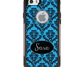 OtterBox Commuter for Apple iPhone 5S SE 5C 6 6S 7 8 PLUS X 10 - Custom Monogram or Image - Black Blue Damask Oval