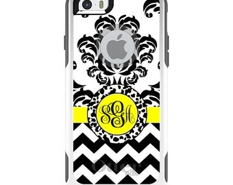 OtterBox Commuter for Apple iPhone 5S SE 5C 6 6S 7 8 PLUS X 10 - Custom Monogram or Image - Black White Yellow Damask Chevron