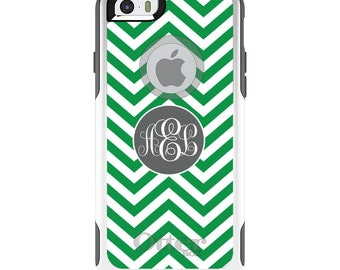 OtterBox Commuter for Apple iPhone 5S SE 5C 6 6S 7 8 PLUS X 10 - Custom Monogram or Image - Green White Grey Chevron Circle