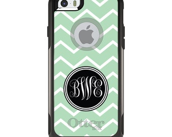 OtterBox Commuter for Apple iPhone 5S SE 5C 6 6S 7 8 PLUS X 10 - Custom Monogram or Image - Light Green White Chevron Initials