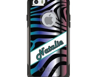 OtterBox Commuter for Apple iPhone 5S SE 5C 6 6S 7 8 PLUS X 10 - Custom Monogram or Image - Teal Purple Silver Pink Zebra Name Banner
