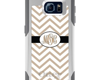 OtterBox Commuter for Galaxy S4 / S5 / S6 / S7 / S8 / S8+ / Note 4 5 8 - CUSTOM Monogram Name Initials - Black Beige White Chevron Stripes