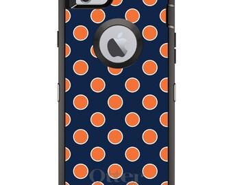 CUSTOM OtterBox Defender Case for Apple iPhone 6 / 6S / 7 / PLUS - Personalized Monogram - Navy Orange White Polka Dots