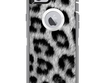 CUSTOM OtterBox Defender Case for Apple iPhone 6 6S 7 8 PLUS X 10 - Personalized Monogram - Black White Snow Leopard Fur
