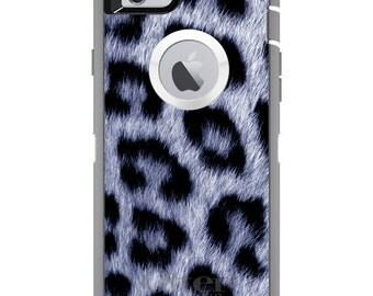 CUSTOM OtterBox Defender Case for Apple iPhone 6 6S 7 8 PLUS X 10 - Personalized Monogram - Blue Black Leopard Fur Skin