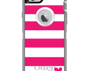 CUSTOM OtterBox Defender Case for Apple iPhone 6 6S 7 8 PLUS X 10 - Personalized Monogram - Hot Pink White Stripes Heart