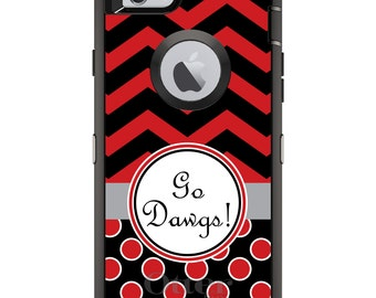 CUSTOM OtterBox Defender Case for Apple iPhone 6 6S 7 8 PLUS X 10 - Personalized Monogram - Red Black Go Dawgs