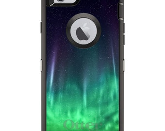 CUSTOM OtterBox Defender Case for Apple iPhone 6 / 6S / 7 / PLUS - Personalized Monogram - Aurora Borealis Northern Lights