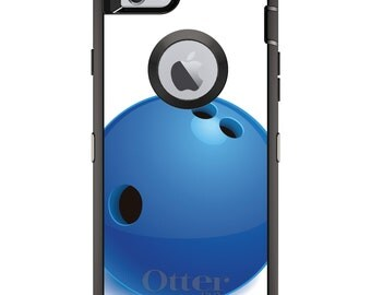 CUSTOM OtterBox Defender Case for Apple iPhone 6 6S 7 8 PLUS X 10 - Personalized Monogram - Blue Bowling Ball