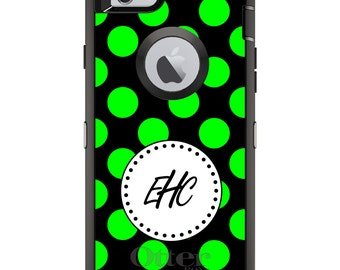 CUSTOM OtterBox Defender Case for Apple iPhone 6 6S 7 8 PLUS X 10 - Personalized Monogram - Green Black White Polka Dots
