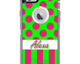 CUSTOM OtterBox Defender Case for Apple iPhone 6 6S 7 8 PLUS X 10 - Personalized Monogram - Pink Green Polka Dot Stripes