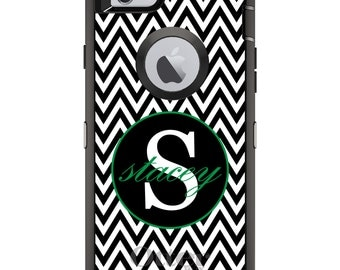 CUSTOM OtterBox Defender Case for Apple iPhone 6 6S 7 8 PLUS X 10 - Personalized Monogram - Black White Chevron Green