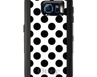 Custom OtterBox Defender for Galaxy S5 S6 S7 S8 S8+ Note 5 8 Any Color / Font - Black White Polka Dots