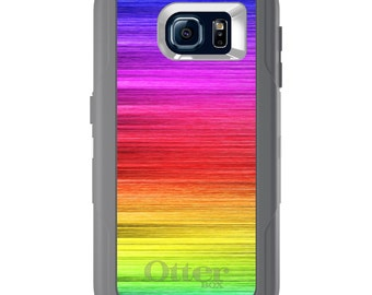 Custom OtterBox Defender for Galaxy S5 S6 S7 S8 S8+ Note 5 8 Any Color / Font - Rainbow Shimmering Lines