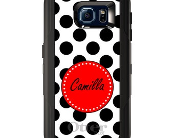 Custom OtterBox Defender for Galaxy S5 S6 S7 S8 S8+ Note 5 8 Any Color / Font - Black White Red Polka Dots