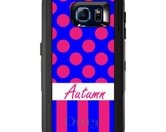Custom OtterBox Defender for Galaxy S5 S6 S7 S8 S8+ Note 5 8 Any Color / Font - Pink Blue Polka Dots Stripes