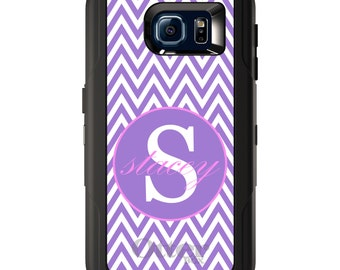 Custom OtterBox Defender for Galaxy S5 S6 S7 S8 S8+ Note 5 8 Any Color / Font - Purple White Pink Chevron