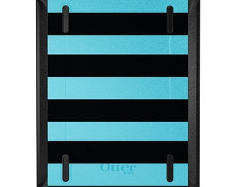 Custom OtterBox Defender for Apple iPad 2 3 4 / Air 1 2 / Mini 1 2 3 4 - CUSTOM Monogram - Black & Cyan Bold Stripes
